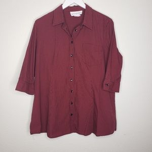 Motherhood Maternity Red Black Gingham Button Up